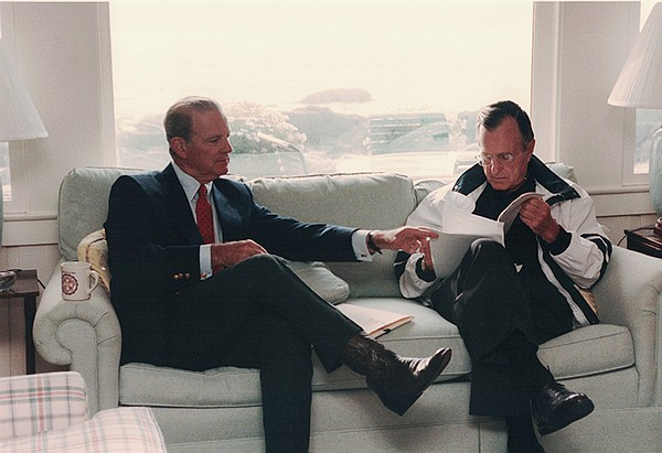 Secretary of State James Baker meets with President Bush ...