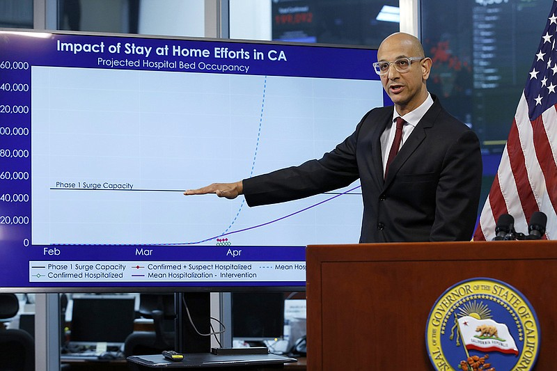 In this April 1, 2020, file photo Dr. Mark Ghaly, secretary of the California...