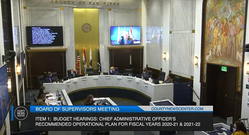 San Diego County Board of Supervisors meet to discuss the $6.4 billion fiscal...