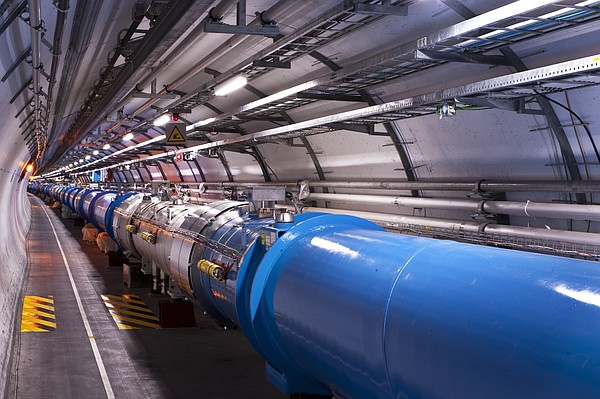 The inside of the Large Hadron Collider is shown in the i...