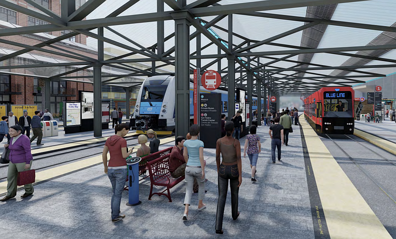 A conceptual rendering shows a re-imagined San Ysidro Transit Center as part ...