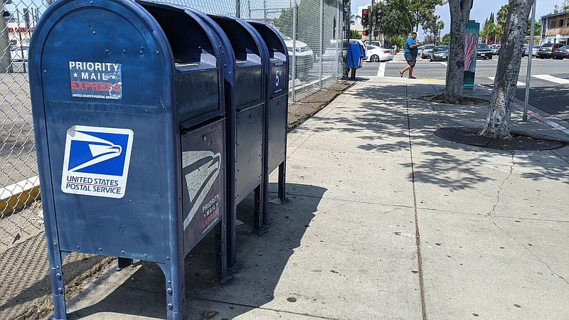 United States Postal Service mailboxes in San Diego. Aug. 18, 2020.