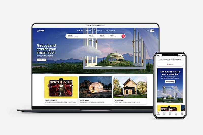 Airbnb homepage and mobile app shown in this undated photo.