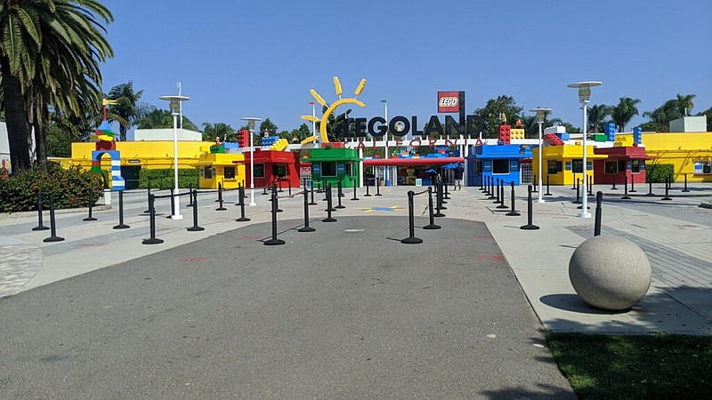The entrance to Legoland California Resort is seen here on Aug. 28, 2020.