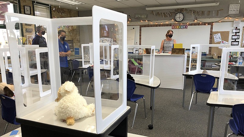 Inside of a classroom at Blossom Valley Elementary in El Cajon with plastic d...