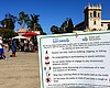 A coronavirus safety advisory sign at the Plaza...