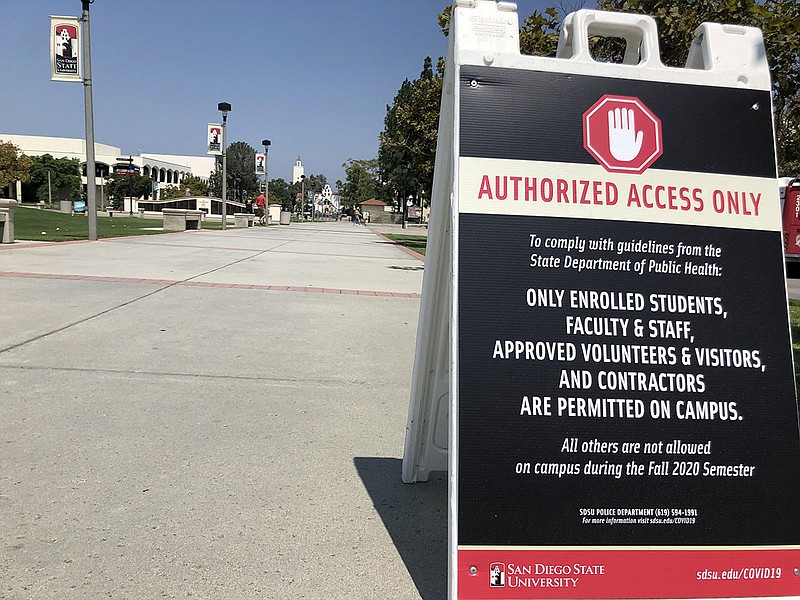 A sign leading onto San Diego State University campus on Aug. 25, 2020, warni...