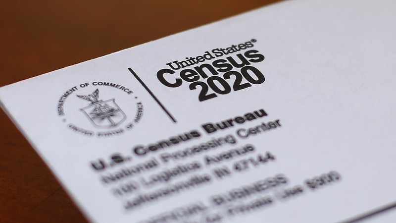 This photo shows an envelope containing a 2020 census letter mailed to a U.S....