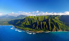 Aerial view of the spectacular Na Pali Coast in...