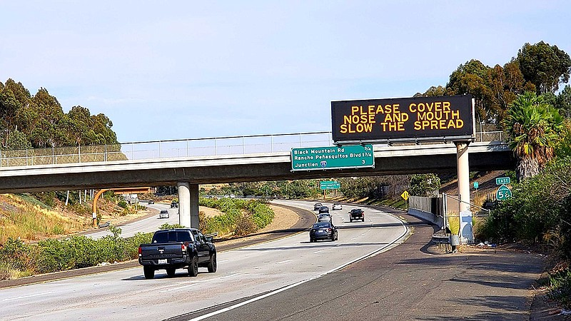 An electronic sign on state Route 56 in Rancho Peñasquitos on Aug. 16, 2020, ...