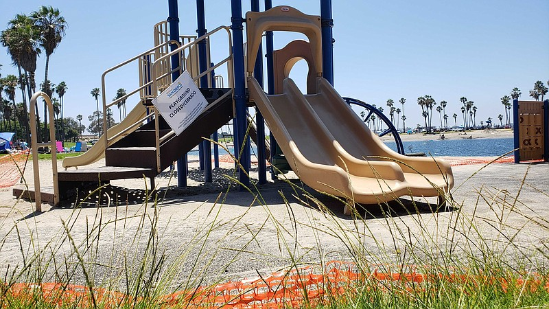 A playground is unused and closed due to the COVID-19 pandemic in Mission Bay...