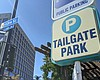 A sign for Tailgate Park parking in Downtown Sa...