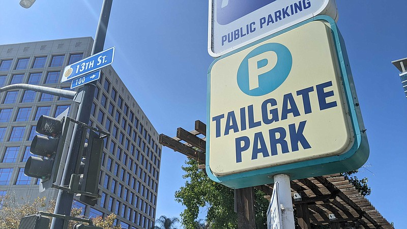 A sign for Tailgate Park parking in Downtown San Diego. Sept. 23, 2020.