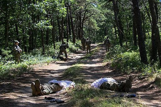 In a training exercise at Joint Base Cape Cod, Army ROTC cadets practice ambu...