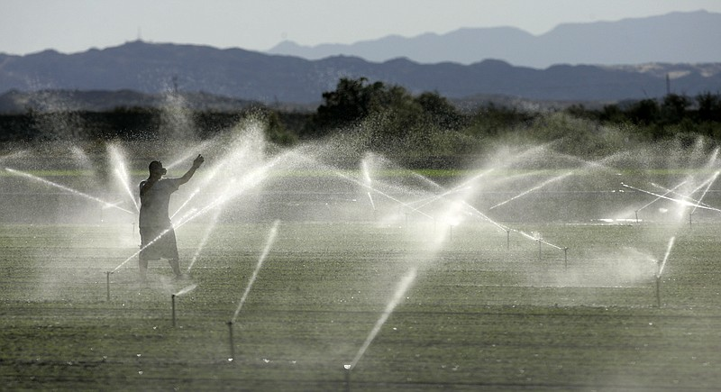 In this Nov. 14, 2006 file photo, a farm worker adjusts the irrigation system...