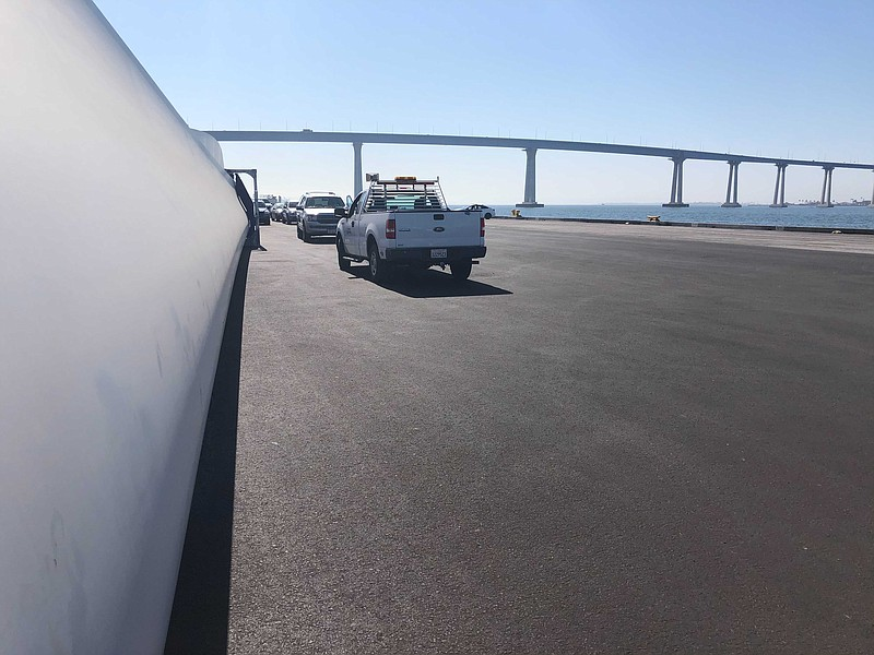 A wind turbine blade at the 10th Avenue Marine terminal in San Diego on Sep. ...
