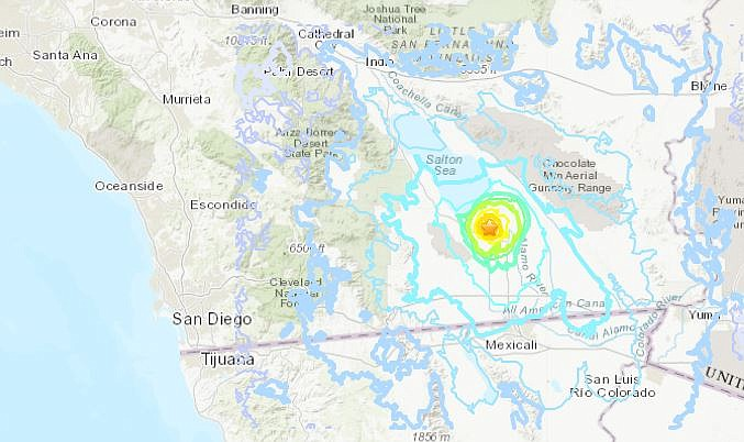 A map of a magnitude 4.9 quake northeast of Westmorland, near El Centro, on S...