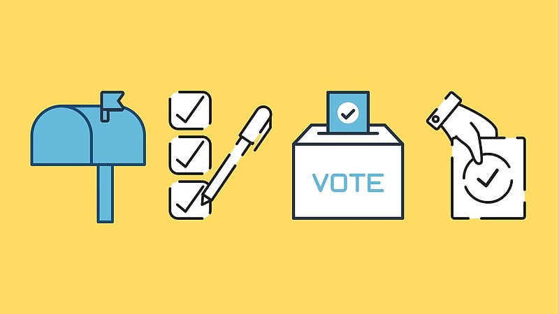 This illustration shows representations of different ways to vote, including ...