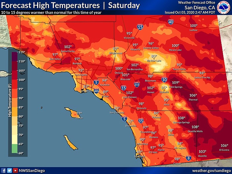 A map with the forecasted high temperatures for San Diego County on Oct. 3, 2...
