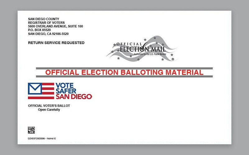 A photo of a mailed ballot from the San Diego County Registrar's Office relea...