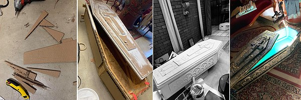 The transformation of cardboard and a plywood coffin into...