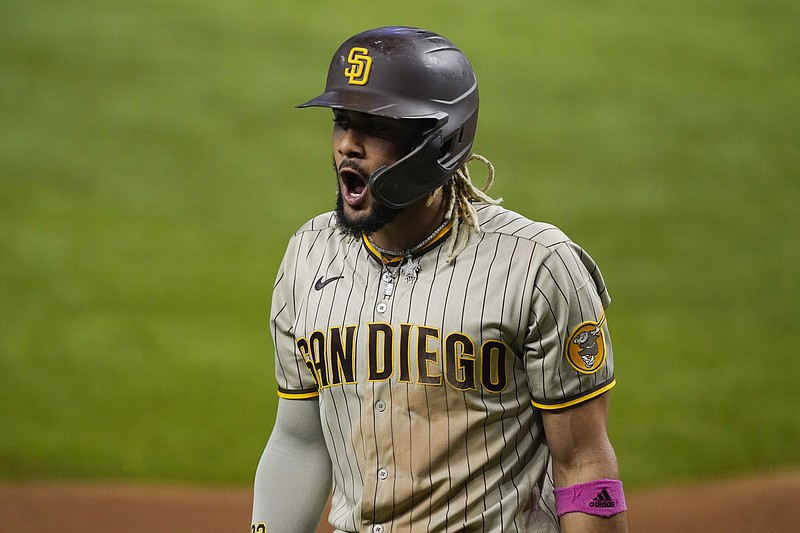 San Diego Padres shortstop Fernando Tatis Jr. (23) reacts after striking out ...