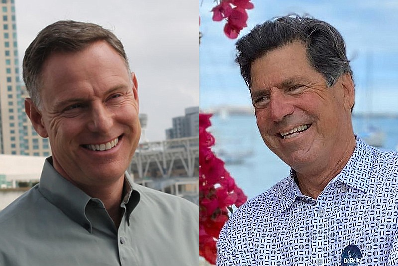 Scott Peters (left) and Jim DeBello in undated campaign photos.