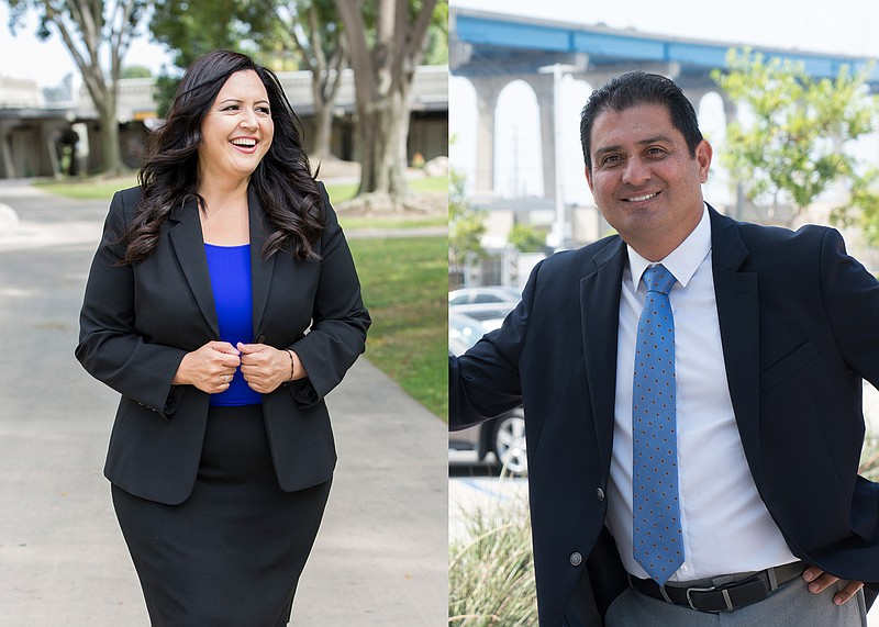 Nora Vargas and Ben Hueso are seen in these campaign photos.