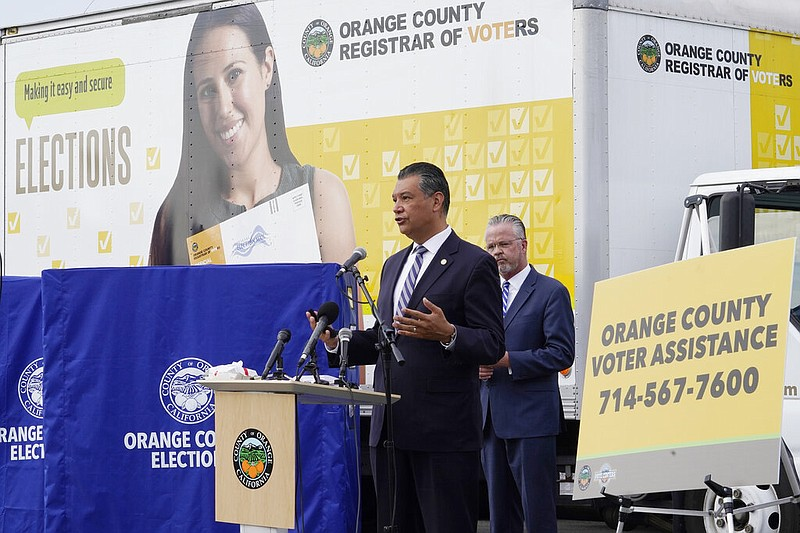In this Oct. 5, 2020 photo, California Secretary of State Alex Padilla holds ...