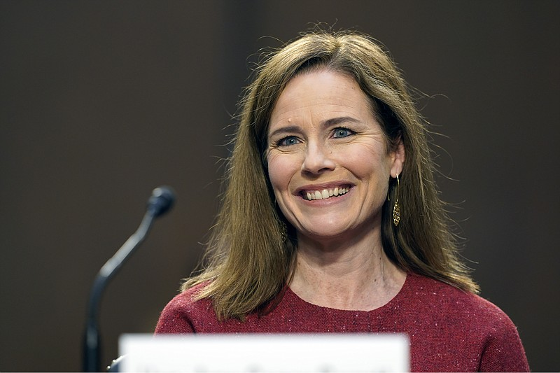 Supreme Court nominee Amy Coney Barrett speaks during a confirmation hearing ...