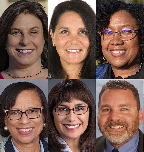 A photo collage of San Diego Unified School Board candidates (from left to ri...