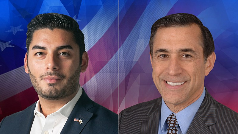 50th Congressional candidates Ammar Campa-Najjar (left) and Darrell Issa (rig...