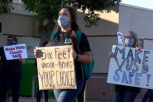 Photo for Vista Teachers Rally Over 'Dangerous' Conditions As All Schools Plan To Reopen
