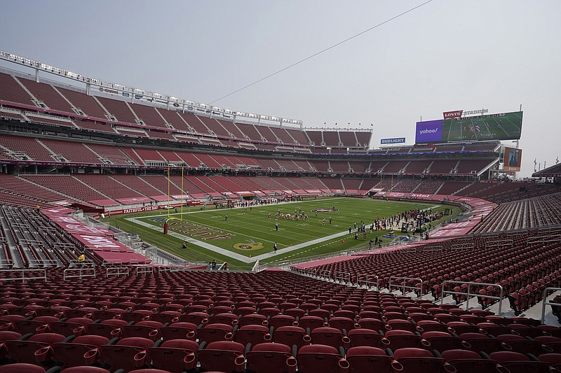 In this Sept. 13, 2020, file photo, empty seats are shown at Levi's Stadium i...