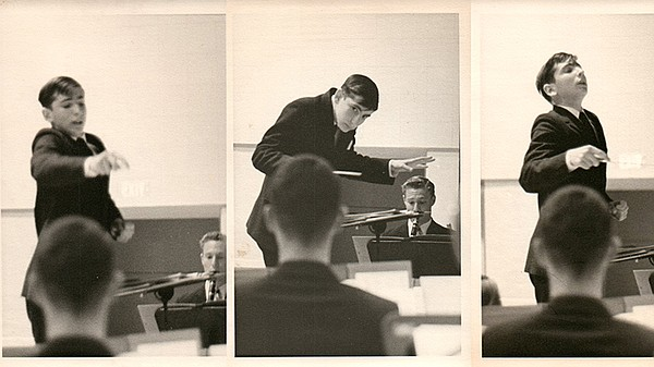 Montage of Michael Tilson Thomas conducting in high schoo...