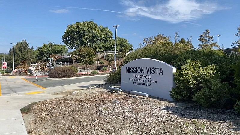 Exterior of Mission Vista High School in Vista. October 23, 2020