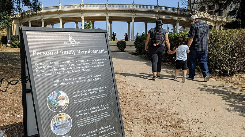 A COVID-19 safety guidelines sign at Balboa Park as a family walks in the bac...