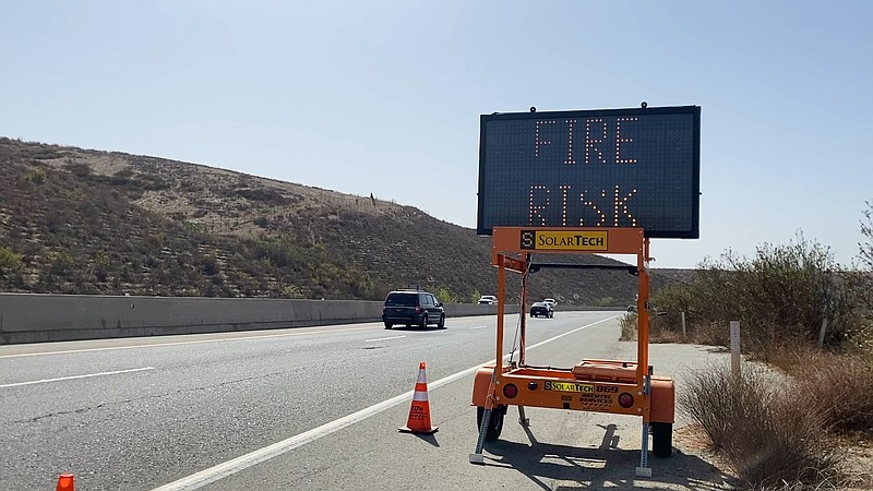 Sign on Highway 76 near Fallbrook and Bonsall warning of SDGE power outages a...
