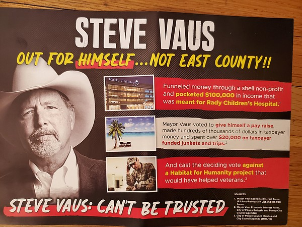 A campaign mailer sent about Poway Mayor Steve Vaus, who ...