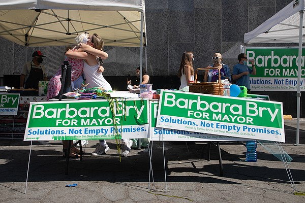 Supporters of Councilmember Barbara Bry, a mayoral candid...