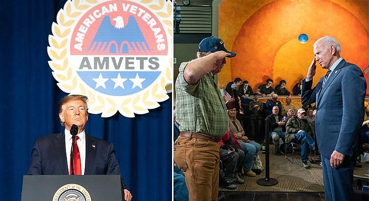 President Donald Trump speaks at a 2019 American Veterans Convention in Louis...