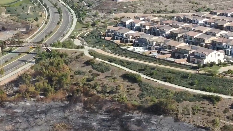 Aerial shot of the Silverado Fire released Oct. 28, 2020, showing how close t...