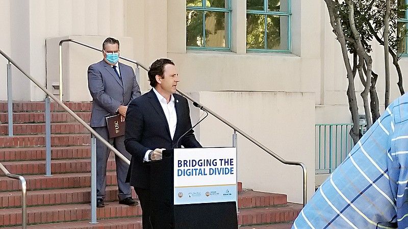 County Supervisor Nathan Fletcher on Oct. 29, 2020, announcing $3 million in ...