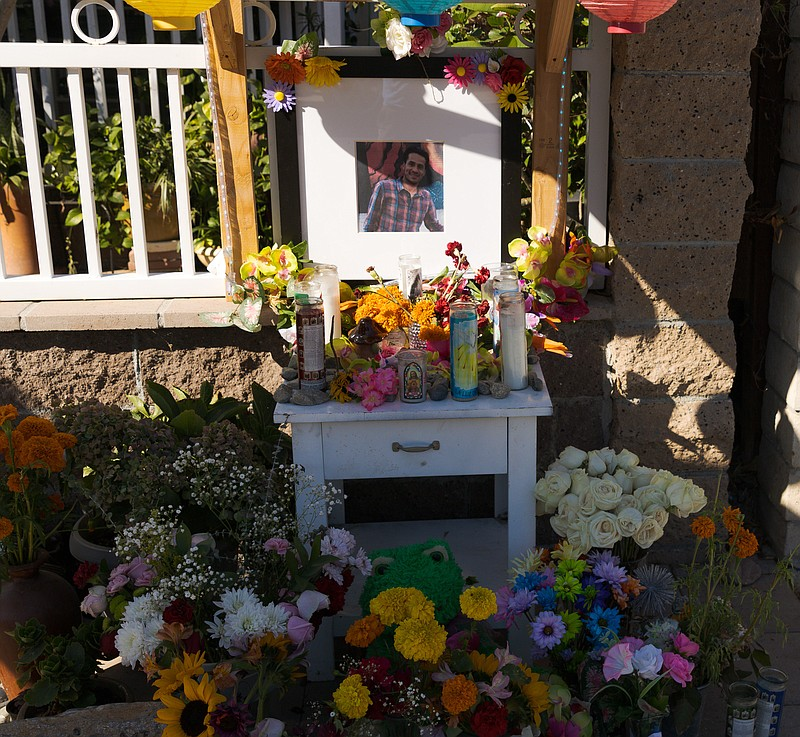 A memorial for 39-year-old Jose Alfredo Castro Gutierrez who was shot by San ...