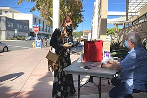 Photo for Election Officials Prepare As San Diego Polls Open Saturday For In-Person Vot...