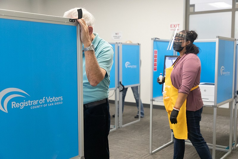 As early voting takes place at the San Diego County Registrar of Voters Offic...
