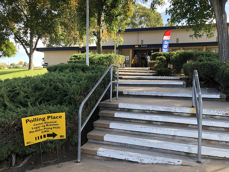 A polling place is open in the San Carlos neighborhood of San Diego County. O...