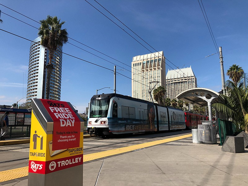 A trolley at the Convention Center Station in Downtown San Diego. Nov. 3, 2020.