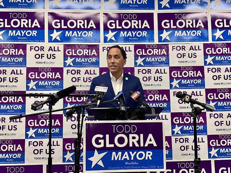 Assemblymember Todd Gloria speaks to the media after he took a strong lead in...
