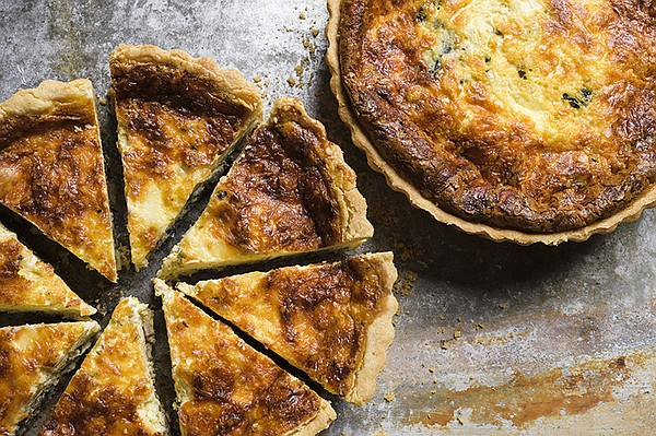 Deep-Dish Quiche with Mushrooms, Bacon and Gruyere.